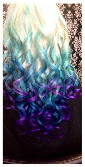 Blonde Blue Purple Ombre Dip Dyed Hair Colorful Hair
