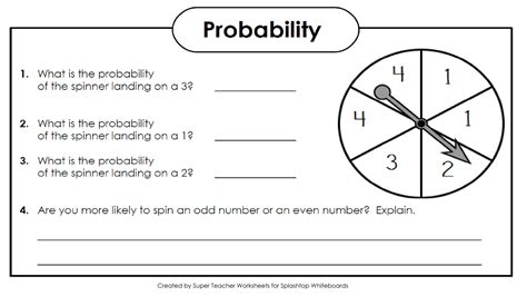 Math Worksheets Grade 4 Probability  Worksheet Example