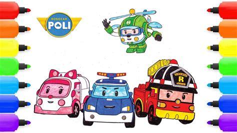 coloring pages robocar poli roy heli amber robocar