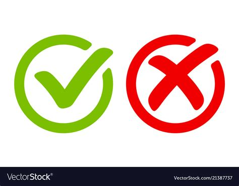 Green Tick Symbol And Red Cross Sign In Circle Vector Image