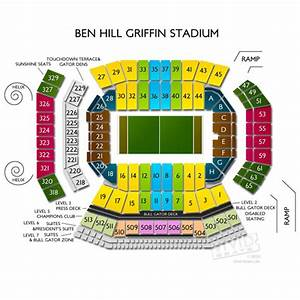 Usf Football Seating Chart Ben Hill Griffin Stadium Seating Chart With Seat Numbers
