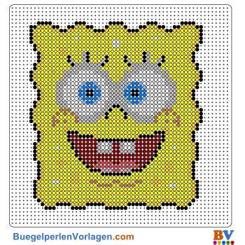 buegelperlen vorlagen von spongebob portrait zum