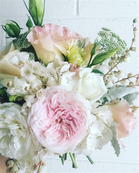 wedding bouquet  pastel pink flowers david austin roses