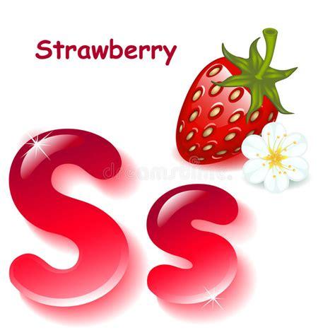 strawberry letter 22 letter s stock vector illustration of illustration color 30027