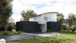 concept maison moderne a toit arrondi ou plat With conception de maison 3d