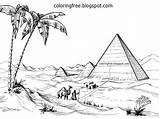 Egyptian Egypt Drawing Coloring Giza Pyramid Desert Printable Scenery Draw Sketch Nile Clipart Template Adults Plateau River Sahara Detailed Worksheets sketch template