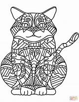Coloring Cat Zentangle Dibujos Easy Colorear Sitting Printable Seniors Sheets Gatos Adult Gato Animals Books Dibujo Sentado Sentados Care Supercoloring sketch template