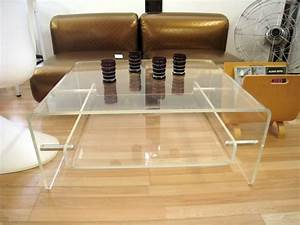 square lucite coffee table with floating shelf inside With acrylic coffee table with shelf