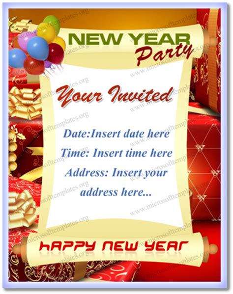 year party invitation  word  open office