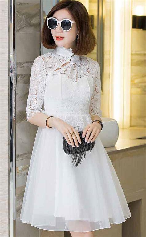 dress putih brokat elegant import  model terbaru