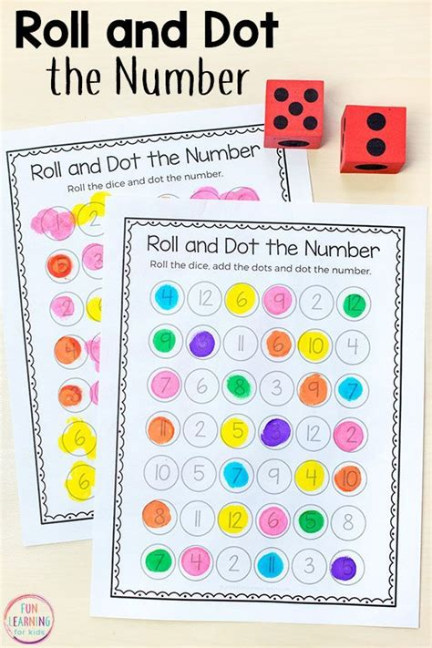 roll  dot  number math activity preschool math
