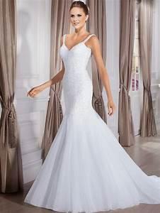 vestido de noiva sereia spaghetti strap beading white With tight mermaid wedding dress