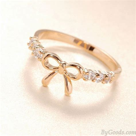 lovely rhinestone bow ring fashion rings jewelry