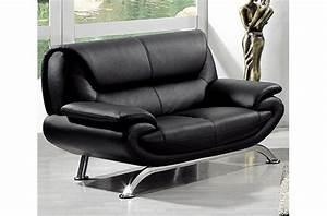 canape 2 places en cuir italien jonah noir mobilier prive With canapé cuir 2 places