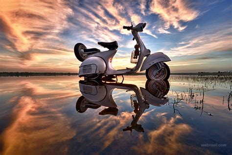 scooter water reflection photography  sarawut