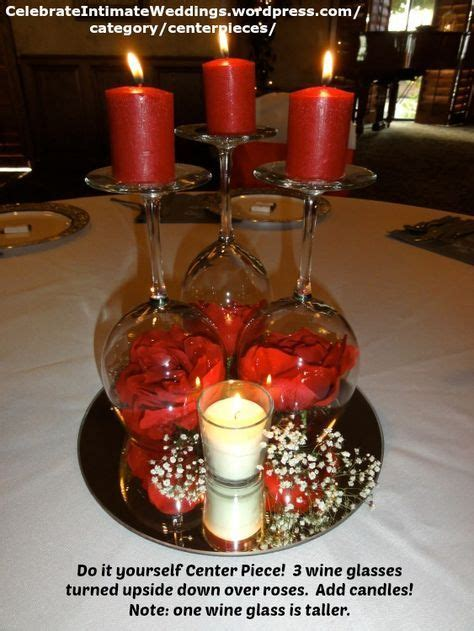 do it yourself center piece 3 wine glasses turned upside