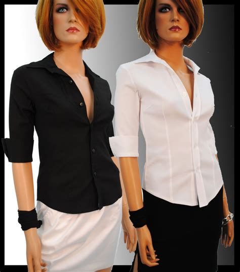 fitted blouses white shirt blouse stretch fitted with 3 4