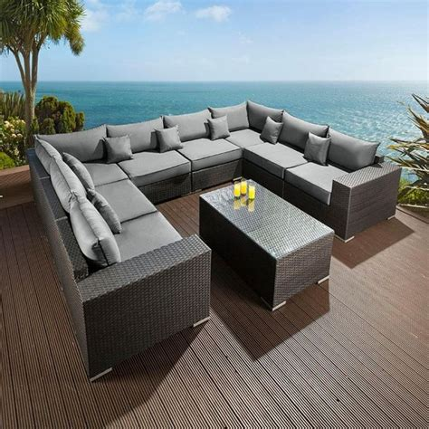 luxury outdoor garden u shape 9 seater sofa black