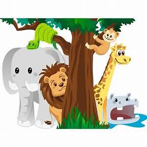 Stickers Animaux De La Jungle : sticker les animaux de la jungle jouant cache cache stickers nature arbres ambiance sticker ~ Mglfilm.com Idées de Décoration