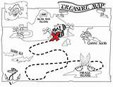 Map Coloring Treasure Pages Pirate Printable Pirates Caribbean Maps sketch template
