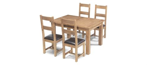 rustic oak 132 198 cm extending dining table and 4 chairs