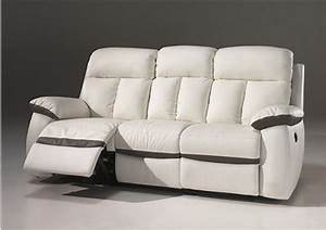 canape 2 places 3 places relax electrique en cuir blanc With canapé cuir relax 3 places electrique