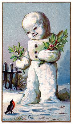 vintage christmas graphic snowman  holly
