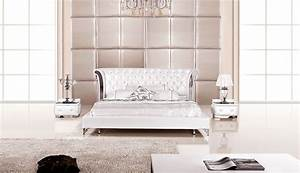 3 piece modern wing genuine white leather bedroom set for Bedroom set white