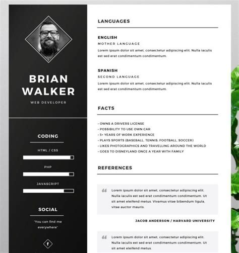 Photoshop Resume Template Free by 130 New Fashion Resume Cv Templates For Free