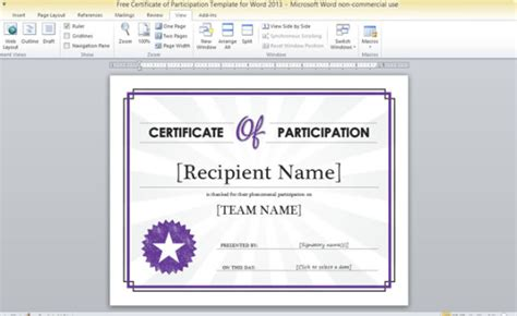 certificate  participation template  word