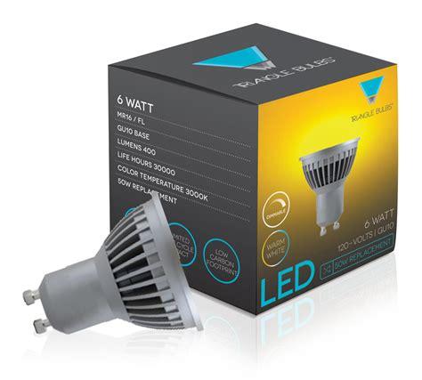 triangle bulbs 6 pack led 6 watt dimmable gu10 mr16 60