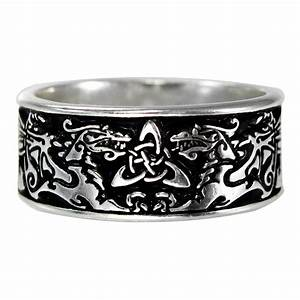 large wide celtic dragon ring triquetra medieval With dragon wedding rings