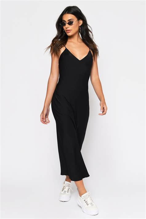 isabella black satin midi dress  tobi