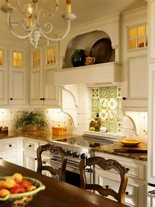 White French Country Kitchen With Floral Backsplash HGTV