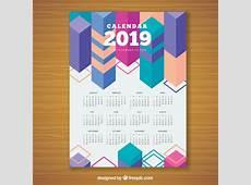 Calendrier géométrique coloré pour 2019 Télécharger des