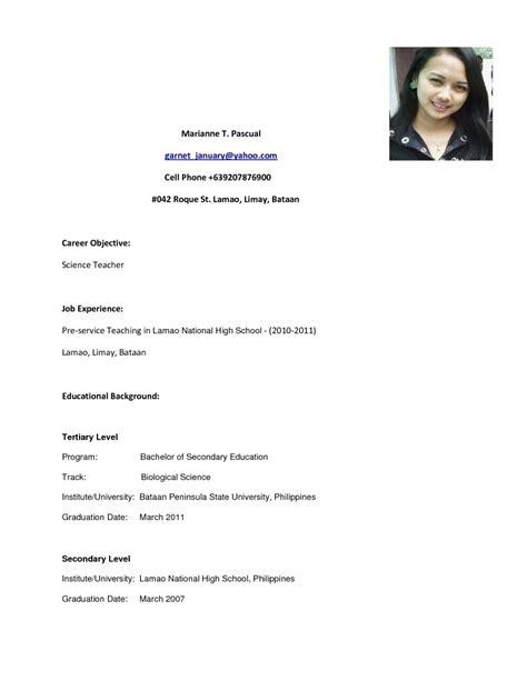 best exle of resume in the philipines high school