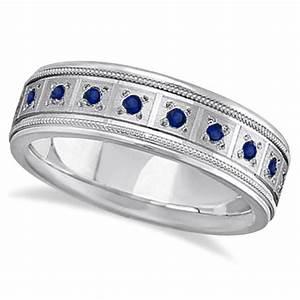 Blue Sapphire Ring For Men Wedding Band 18k White Gold 080ct