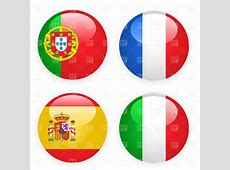 Spain, Italy, France and Portugal button flags Vector