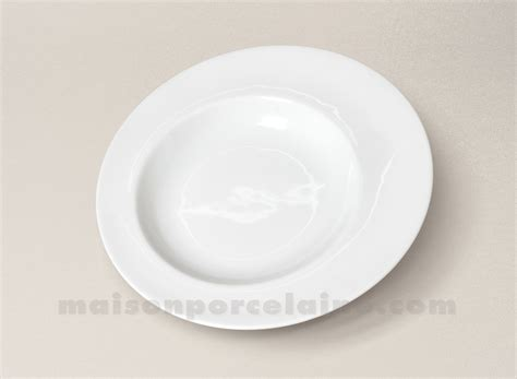 assiette creuse aile porcelaine blanche kosmos d23 20cl maison de la porcelaine