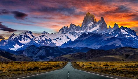 Nature, Landscape, Road, Mountain, Sunset, Snowy Peak