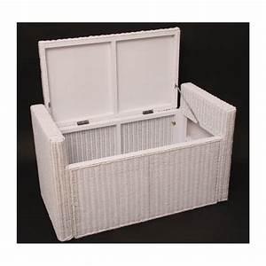 Coffre De Rangement Blanc : banc banquette coffre de rangement en rotin blanc ban04018 d coshop26 ~ Nature-et-papiers.com Idées de Décoration