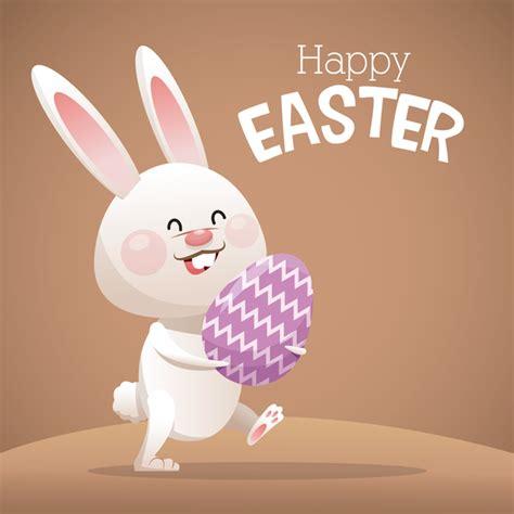 happy easter card  cartoon bunny vector  vector