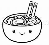 Kawaii Noodles Ramen Draw Drawing Easy Clipart Step Line Tutorial Clipartmag sketch template