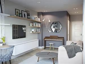 Salon Gris Bleu : touches de bois dans un int rieur blanc et gris ~ Melissatoandfro.com Idées de Décoration