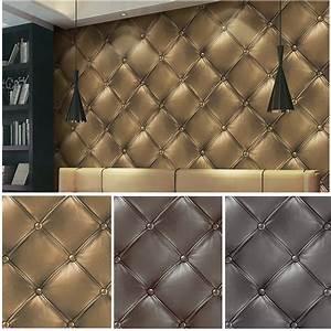 HaokHome 3D Vinyl Faux Leather textured wallpaper 0.53m ...