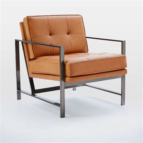 metal frame leather chair west elm furniture
