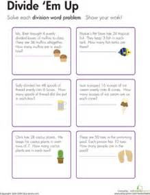 division word problems 4th grade division word problems divide 39 em up worksheet education