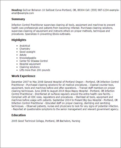 professional infection practitioner templates to