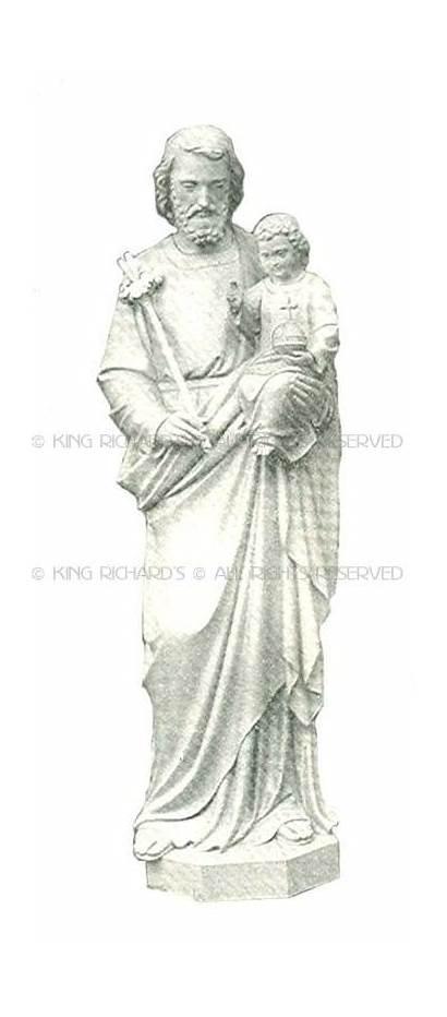 Joseph Carved Marble Jesus Child Statue Wood