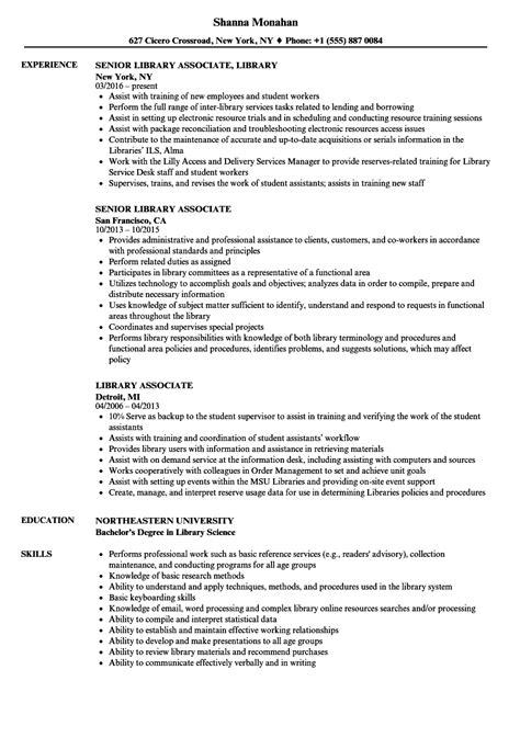 Resume Library by Library Associate Resume Sles Velvet
